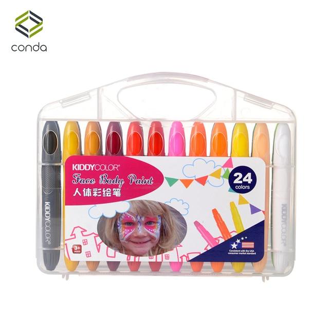 CONDA المهنية الوجه قلم طلاء 24 ألوان غير سامة الجسم أقلام شمع هالوين زي حفلة تنكرية الجمال ماكياج أدوات