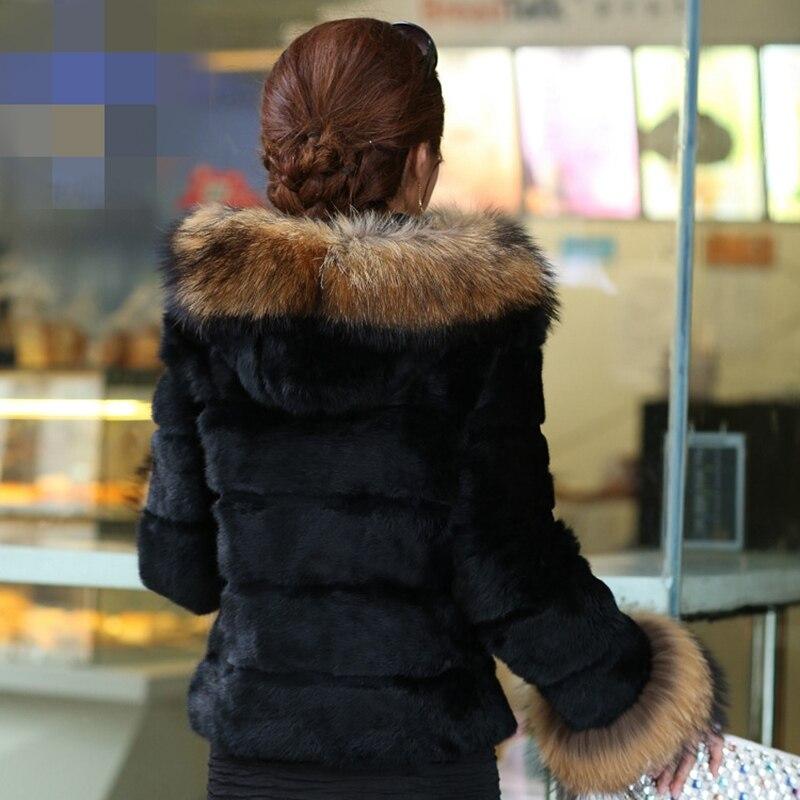 Survêtement red Dame Lapin Courte Manteaux black Véritable De Hiver À Réel beige Veste Green Lf5030 Raton Laveur Automne Et blue Manchette Fourrure Manteau Capuche Femmes aaBTtr