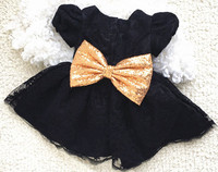 Black Arab one year baby birthday girl dresses crew neck lace appliques knee length kids tea party outfit with golden sequin bow