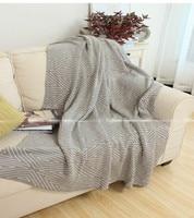 무료 배송 현대 간단한 스타일 패션 기하학적 그레이 & 블랙 소파 레저 담요 침대보 100% 면 스레드 던져