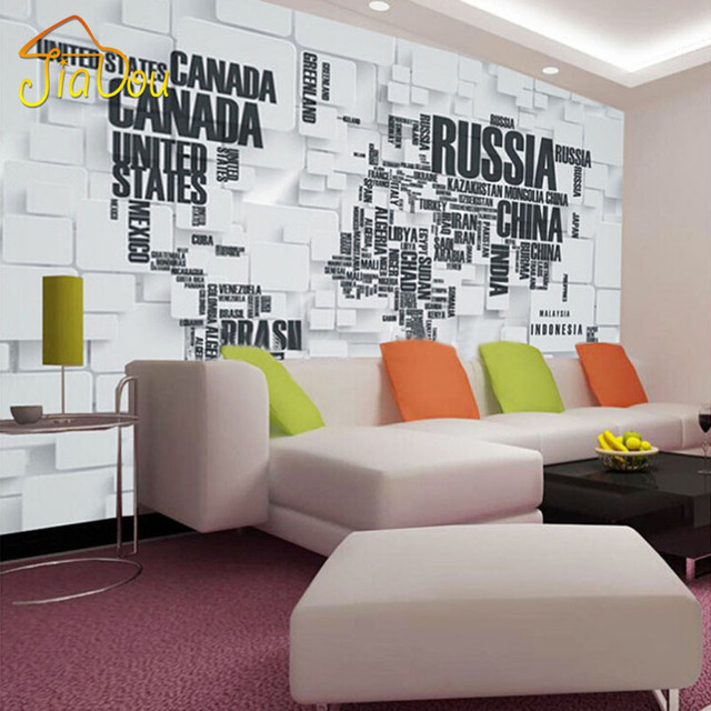 Custom Mural Wallpaper D Stereoscopic Brick Wall World Map Living - World map wallpaper for walls india