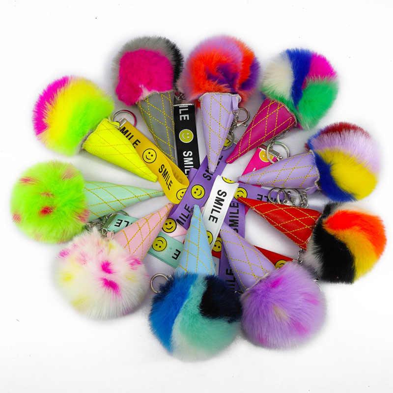 Colorido Chaveiros Sorvete Pom Poms Bolas Macias Chaveiro Pingentes Jóias para Mulheres Sacos Decorações diy Acessórios Chave Do Carro