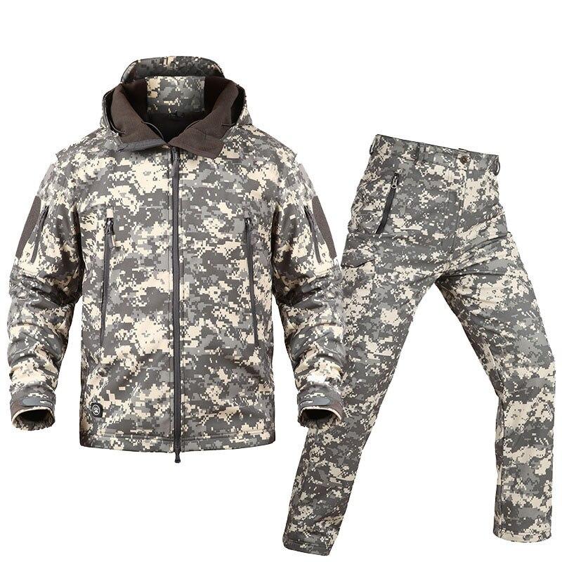 Cazadora 8 6 1 7 9 2 Cáscara Impermeable Combate Nuevo 3 11 Táctico Suave 10 De Camuflaje Militar Ropa Conjuntos Uniforme 12 Caza 4 5 Chaqueta Pantalones HnFO1