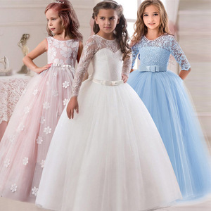 Flower Girl's Birthday Banquet Long Sleeve Lace Stitching Dress Elegant Girl's Wedding Long White Butterfly Lace Loop Dress(China)