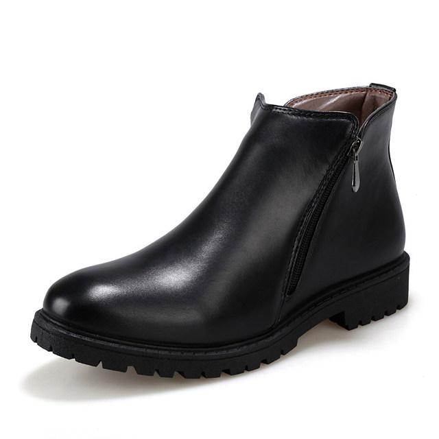 Nueva Moda de Otoño y de Invierno Hombre Martin Botas Zapatos Calientes Antideslizantes con cordones de LA PU de Cuero Cuñas Del Dedo Del Pie Redondo de Los Hombres botas l117 65