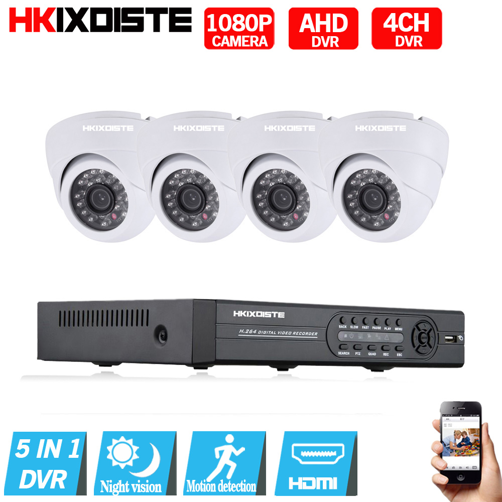 HD 2MP Video Surveillance CCTV System 4CH Full HD 1080N 1080P HD AHD DVR Kit 4*1080P white camera  Indoor Security Camera System