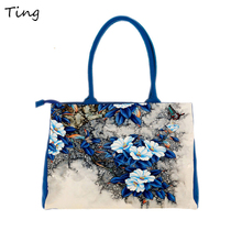 Female Ethnic canvas Top-handle bag hand drawings luxury bags designers handbags women big flower tote bags sac a main de marque