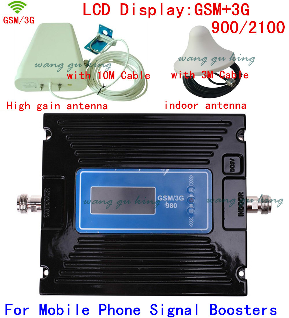 Newest Dual Band gain adjustable GSM 900MHZ + 2G 3G W-CDMA 2100MHZ Cell phone signal booster repeater amplifier antenna + cableNewest Dual Band gain adjustable GSM 900MHZ + 2G 3G W-CDMA 2100MHZ Cell phone signal booster repeater amplifier antenna + cable