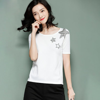 KENYV brand fashion high end luxury women's diamond star short sleeved elastic knitted T shirts top