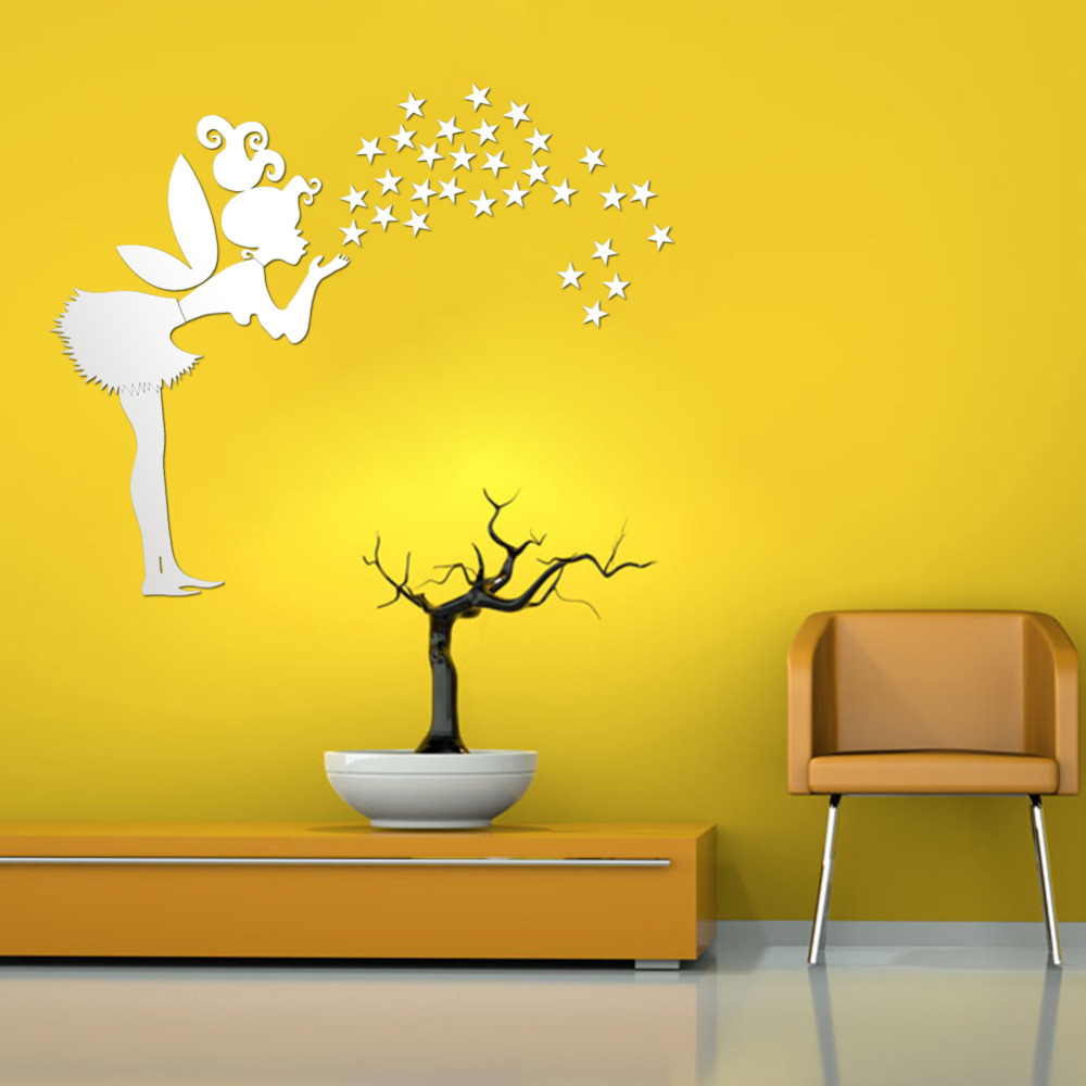 DIY Fairy with 35 Stars 3D Mirror Face Wall Stickers Acrylic Wall ...