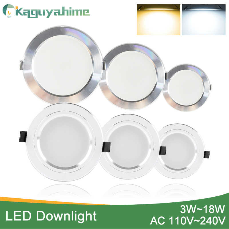 Kaguyahime LED Downlight 3 W 5 W 9 W 15 W 18 W כסף לבן Ultra דק Downlight AC110V 220 V 240 V עגול שקוע LED ספוט תאורה