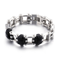 Black Personality Titanium Steel Bicycle Skeleton Bracelet Retro Trend Bike Male Chain Manufacturers Straight Batch