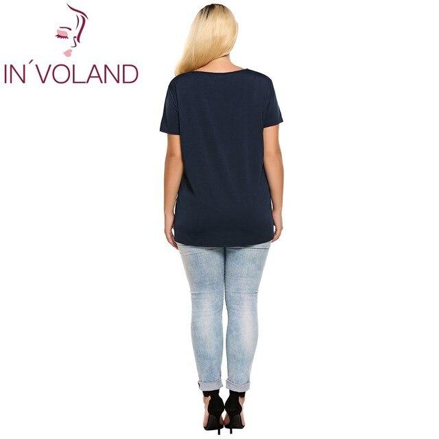 INVOLAND femmes T-Shirts grandes tailles décontracté col en v à manches courtes solide été pull chemise régulière haut Feminino t-shirt surdimensionné