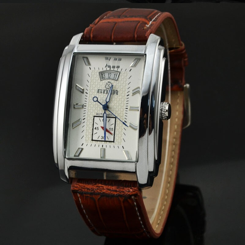 Brand Tags  Watches Men Leather Strap Automatic Mechanical Men Watches Casual Wristwatch Small Seconds Relogio Masculino GOER