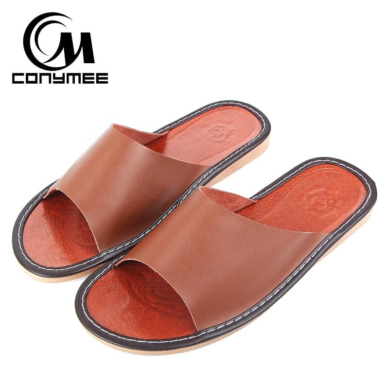 CONYMEE Genuine Leather Sandals Men Summer Flip Flops Flat Shoes Men's Casual Sneakers For Home Indoor Slippers Non-slip Pantufa xiuteng 2017 summer leather men slippers home indoor flat with shoes european high grade non slip floor sandals for men