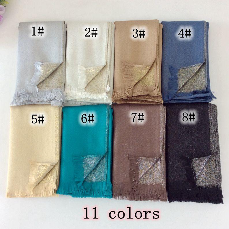 Cotton Lurex Tassels Shimmer Plain Glitter Long Shawls And Scarves Head Wraps Muslim Hijab Women Scarves Luxury Scarf