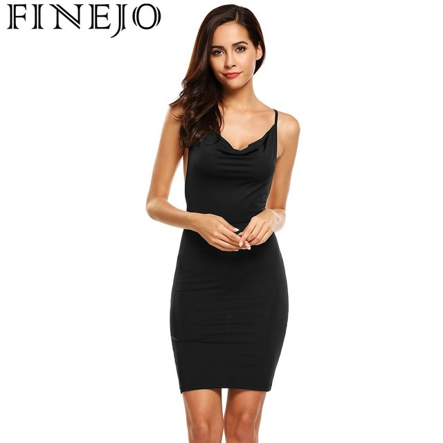 db9f5cc827 FINEJO Women Backless Dresses Sexy Spaghteii Strap Cowl Neck Package Hip  Mini Pencil Dress Club Party Summer Vestidos Plus Size