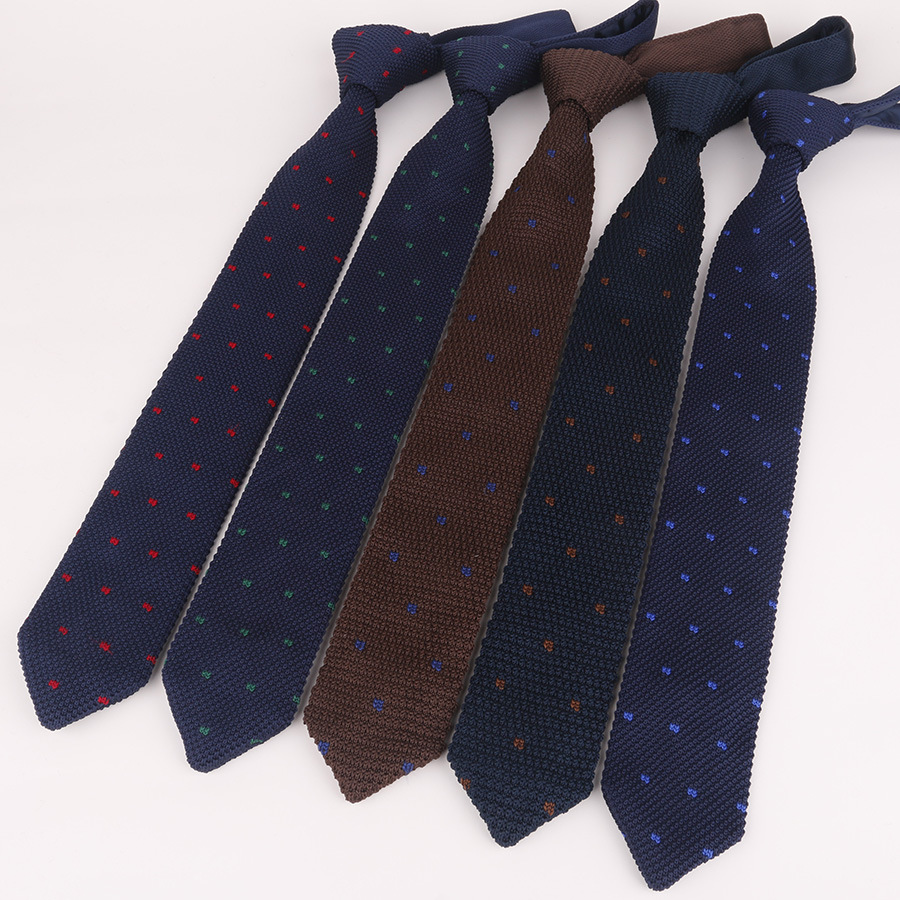 High Quality Multi-Colored  Mens Ties  New 148-6cm Long  Knit Ties Red Blue  Grey Polka Dot Gentlemen Business Necktie Neckwear