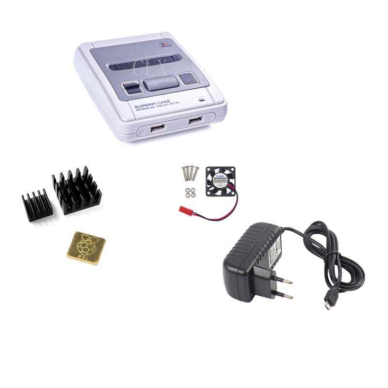 Retroflag SUPERPIE CASE-J Plastic Box For Raspberry Pi + 32GB SD Card + 3A Power Adapter + HDMI + Fan + Heat Sink For RPI 3B+