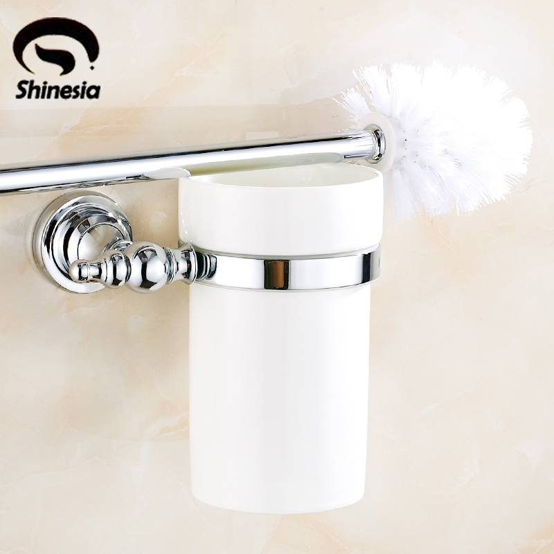 Chrome Polished Soild Brass Bathroom Toilet Paper Holder + Ceramic Cup + Brush Bathroom Accessories Wall Mount simple bathroom ceramic wash four piece suit cosmetics supply brush cup set gift lo861050