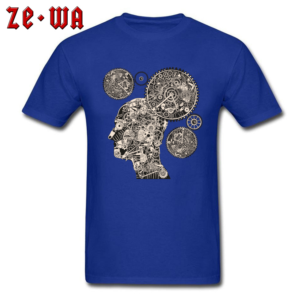 Tops T Shirt T Shirt Clock Machine Gear Mechanism Autumn Short Sleeve 100% Cotton Crew Neck Men Tshirts Slim Fit Graphic Clock Machine Gear Mechanism blue