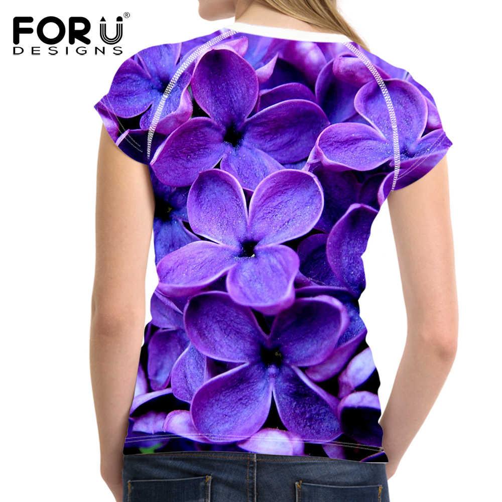 FORUDESIGNS/фиолетовая сиреневая 3D Цветочная Женская футболка летние облегающие Топы укороченные женские Бодибилдинг эластичная футболка одежда Спортивная