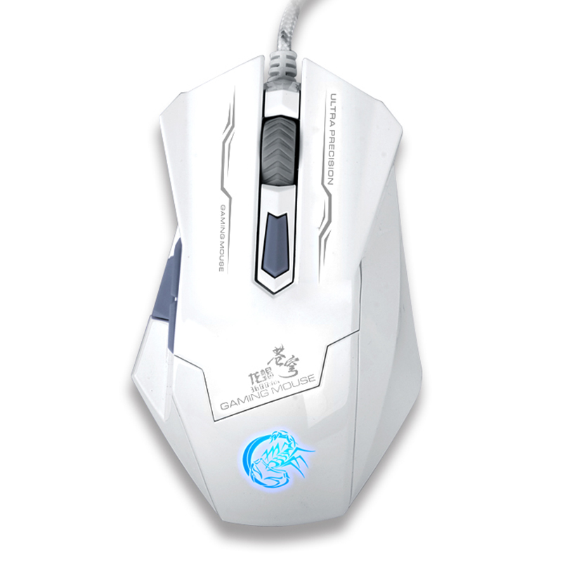 Wired Gaming USB Mouse Gamer Mice Optical Ergonomics Hyperesponse Adjustment 3200DPI 7 Colors Lights White Black PC Laptop