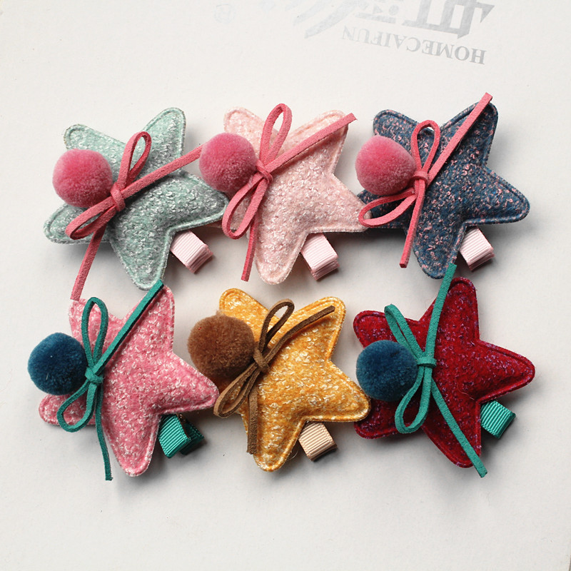24pcs/lot Soft Felt Big Size Stars Kids Hair Clip with Bow Wool Roll Girls Hairpins Bowknot Solid Color Hair Grip Cheap Barrette free shipping 10pcs lot new double satin bow hair clip rhinestone bowknot hairpin girls kids barrette