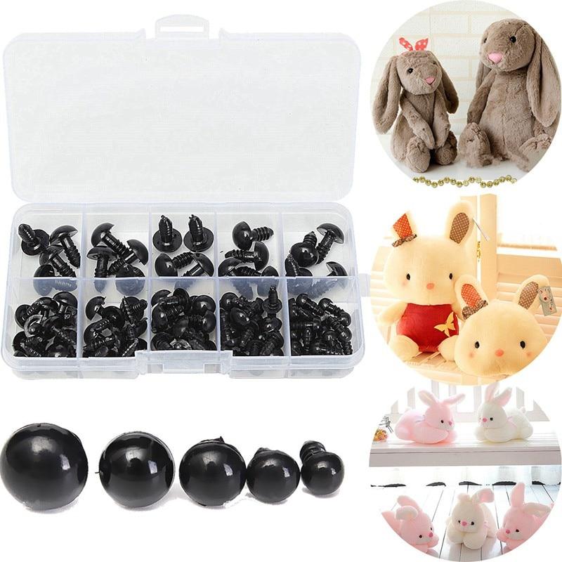 100pcs/box 6-12mm Black Plastic Safety Eyes For Teddy Bear Doll Animal Crafts Box Doll Cartoon Animal Puppet Crafts Wholesale