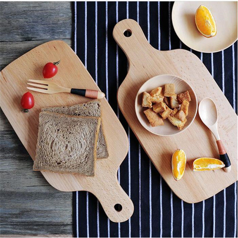 New Wooden Cutting Board Japan Style Kitchen Chopping Block Wood Cake Plate Bread Fruit Pizza Tray Baking Tool 38.5*18CM JJ120