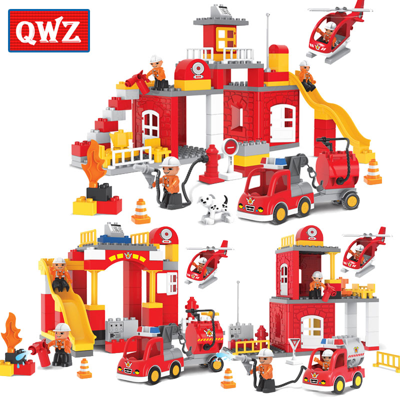 цена на QWZ 60-90pcs City Fire Station Fire Engine Duplo Large Size Building Blocks Fireman Figures Compatible With Duplo For Kids Toys