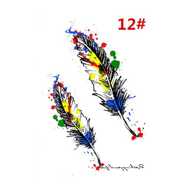 Sale New Sweet Blue Feather Flower Arm Back Temporary Stickers Female Men Couple Disposable Tattoo Stickers Fashion Body Art 2