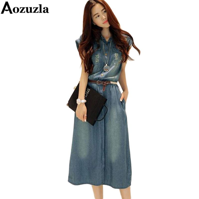 772211b6a2f5d زائد حجم S-4XL النساء الدنيم اللباس 2019 الصيف نمط فستان كاجوال بدوره إلى  أسفل طوق قصيرة الأكمام الجينز فساتين Vestidos Femininos