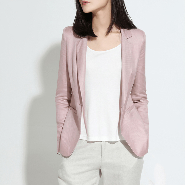 Summer Linen Blazer Women Pink Short Jacket Elegant Boho Slim Spring Coat Runway Jaqueta Vintage Bolero Women Underwear 70X007