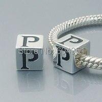 1 pçs/lote 925 prata alfabeto P Beads serve encantos pulseira estilo Chamilia Biagi europeu