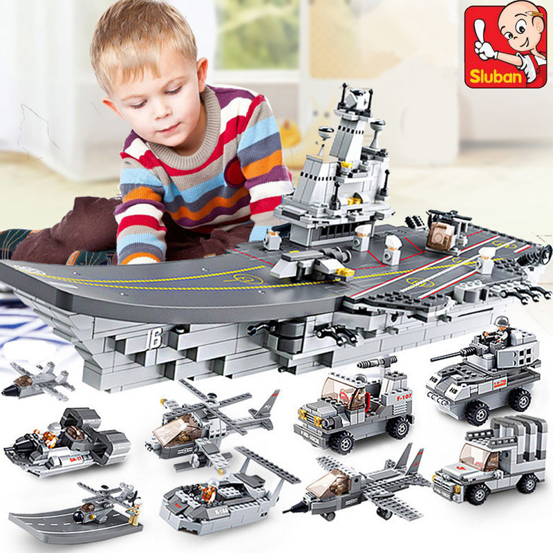 1001Pcs 9 IN 1 Aircraft Carriers Sea Air And Land Military Corps Model Building Blocks ARMY
