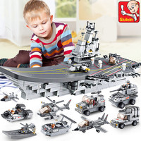 1001Pcs 9 IN 1 Aircraft Carriers Sea Air And Land Military Corps Model LegoINGLs Building Blocks ARMY Bricks Toys for Children