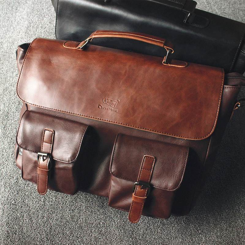 Men's PU Leather Briefcase Vintage Business Computer Bag Fashion Messenger Bags Man Shoulder Bag Postman Male Handbags New 2019