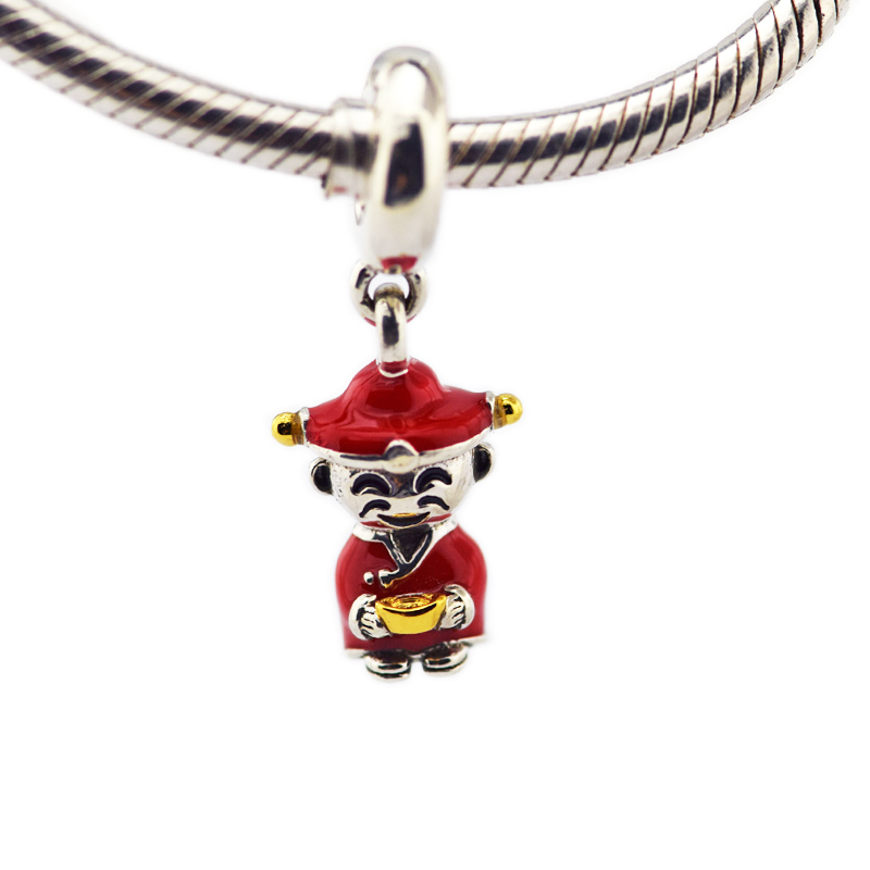 925 Sterling Silver Fortune and Luck Hanging Charm God of Wealth Pendant Fits DIY Bracelet Pendant For Women Jewelry Gift