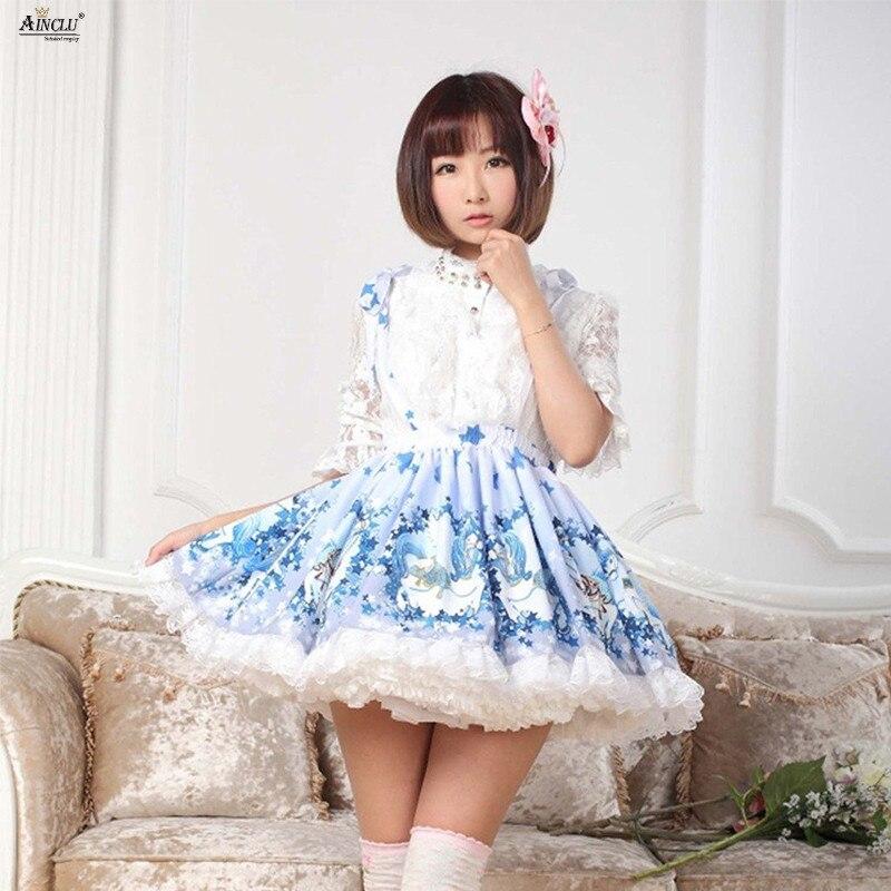 2018 printemps/automne nouveauté Lolita jupe bleu Polyester dentelle cerf poney imprimé Lolita jarretelle frais mignon princesse jupes