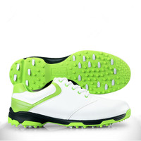 2016 New Arrival None Men Rubber Genuine Leather Rubber Cotton Fabric Lace Up Golf Shoes Golf