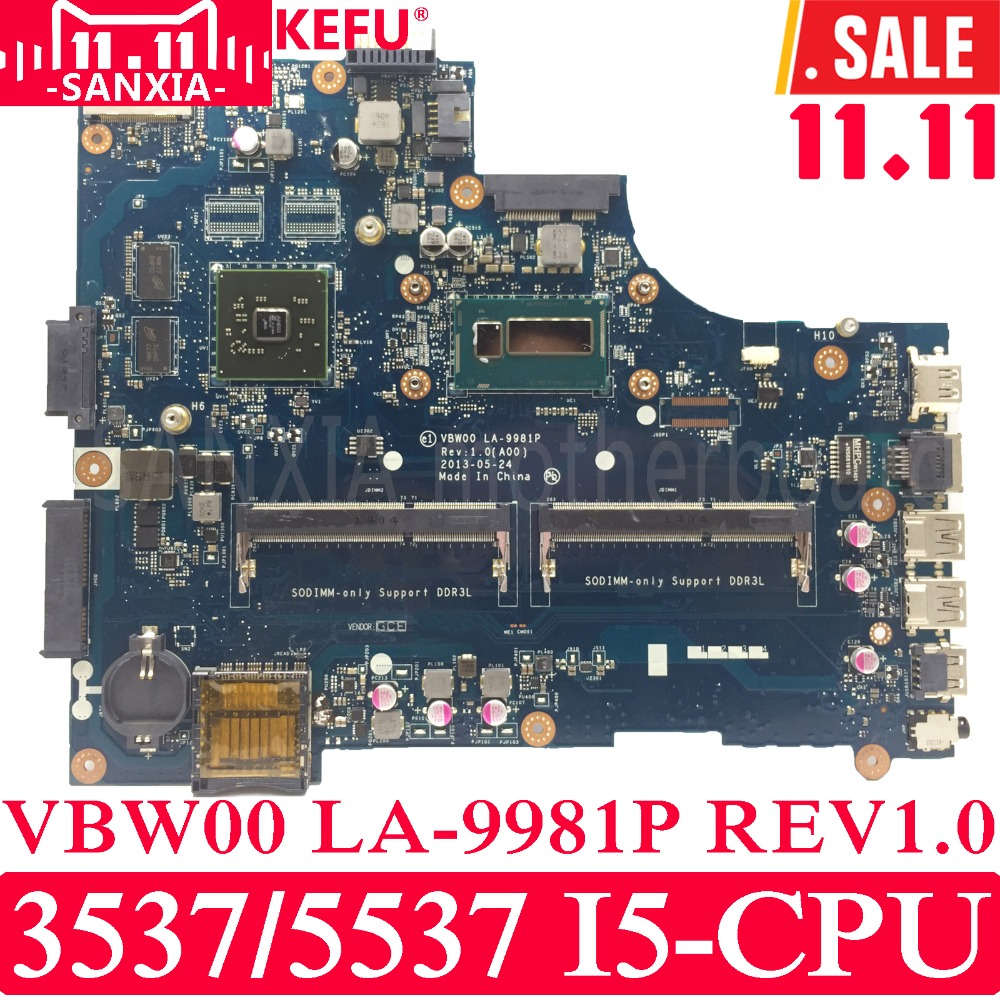 KEFU VBW00 LA-9981P Laptop motherboard For Dell 15R 3537 5537 Test original mainboard I5 CPU