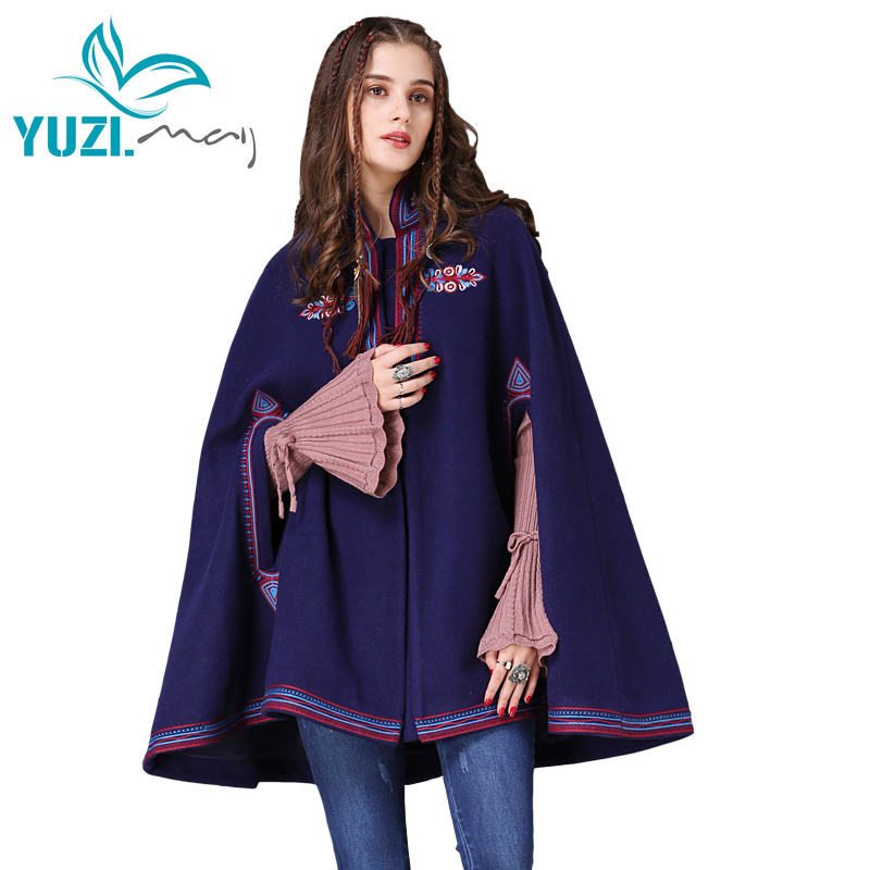 Winter Women Coat 2017 Yuzi may Boho New Wool Casacos Stand Collar Vintage Flower Embroidery Loose