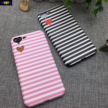 купить Cyato Fashion Heart Camera Window cases For iPhone 6s Soft TPU Black Pink Stripe Phone Back Cover For iPhone 6 6S 7 Plus 8 Plus по цене 151.1 рублей