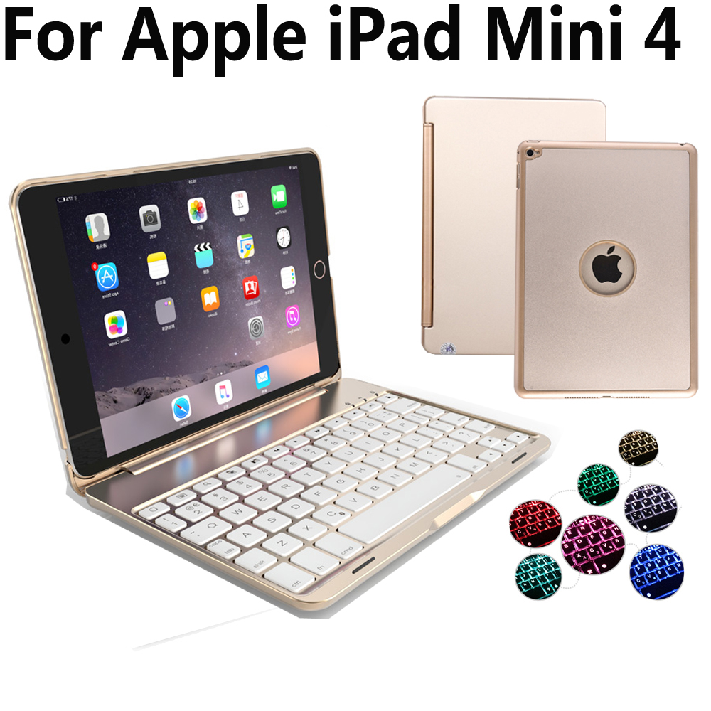 7 Colors Aluminum Wireless Bluetooth Keyboard Cover Case for Apple iPad Mini 4 Mini4 7.9 A1538 A1550 with Screen Protector Film slim case for ipad mini 4 aluminum wireless bluetooth keyboard 7 colors backlit protective smart cover for ipad mini4 flip stand