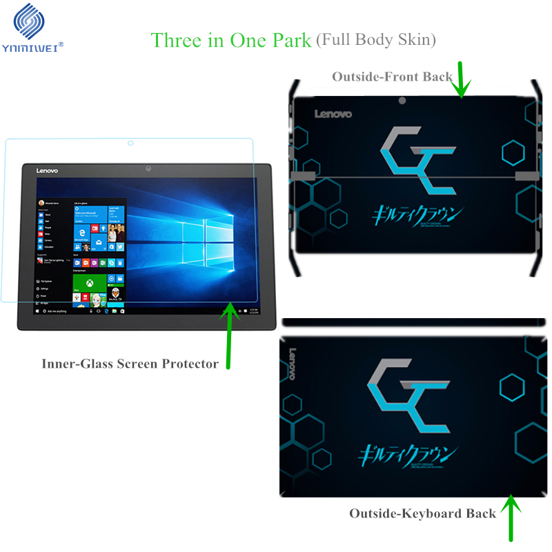 Miix520 Full Body Skin For Lenovo Miix520 Miix 520 Tempered Glass Screen Protector Colorfull Print Diy Photo