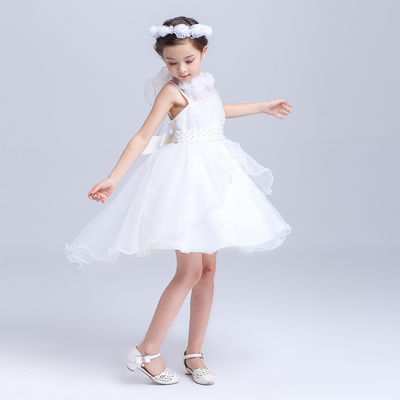 2018 NEW kids girls beautiful white&pink flower bow tie European root yarn dress flower girl party/wedding/performer/host dress