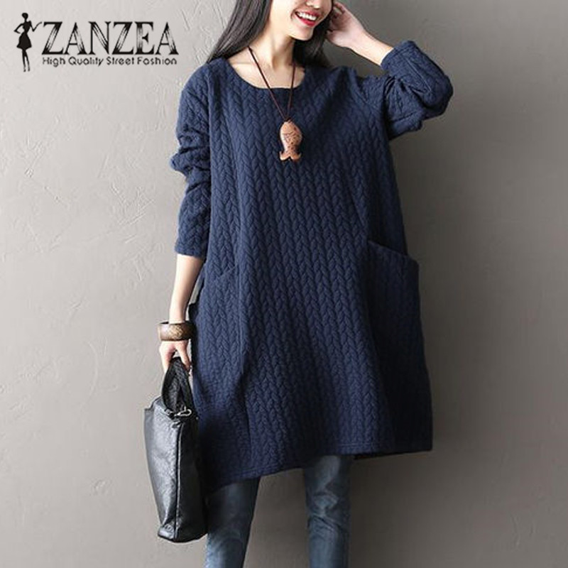 New ZANZEA Women Winter Retro O Neck Long Sleeve Big Pockets Casual Solid Party Autumn Loose Basic Vestido Oversized Baggy Dress