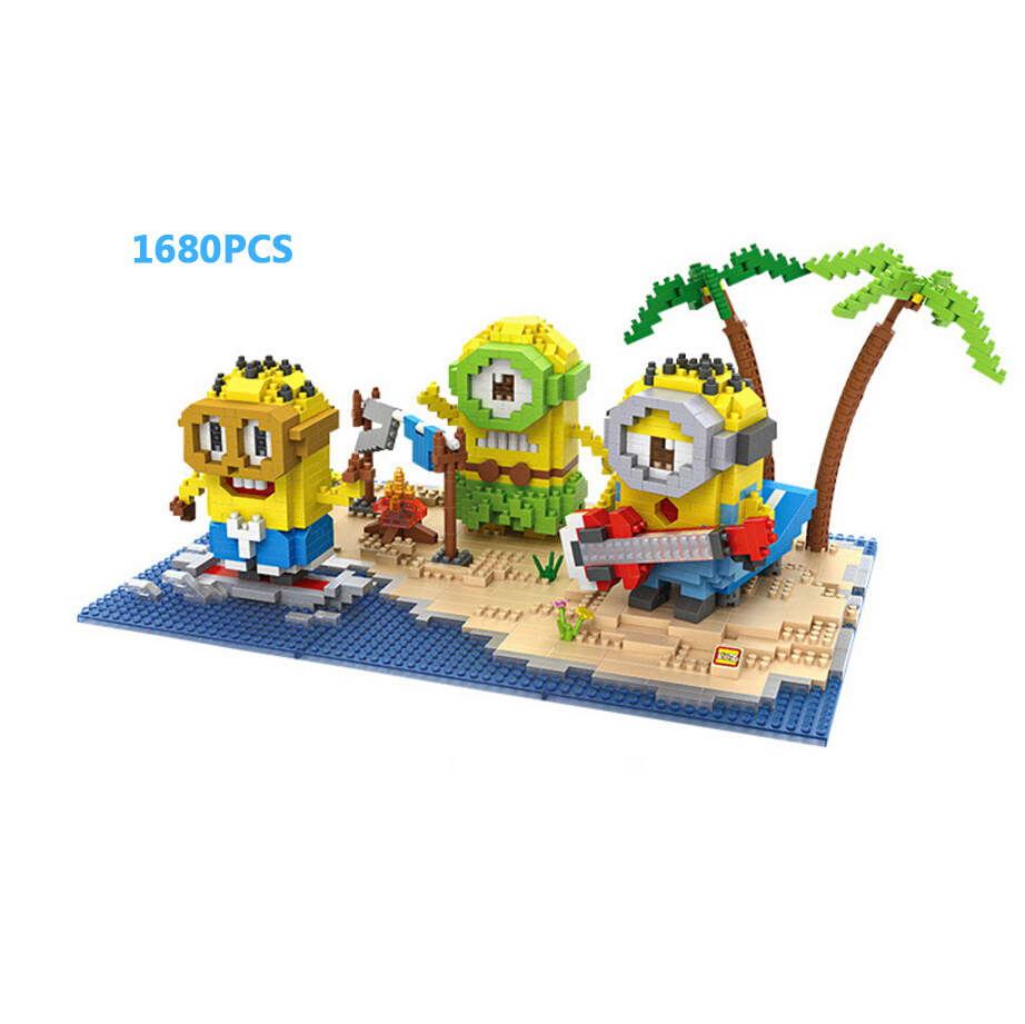 Creator Cartoon images minion summer Island paradise micro diamond building block figures nanoblock bricks toys for kids gifts creator hot world famous city funland micro diamond building block castle nanoblock assemble model bricks toys collection gifts