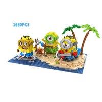 Schepper Cartoon beelden minion zomer Eiland paradise micro diamant bouwsteen cijfers nanoblock bricks speelgoed voor kids geschenken